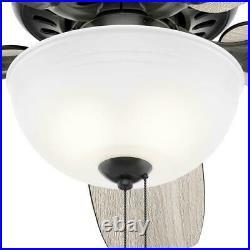 Hunter Stratford 52 in. LED Indoor Matte Black Ceiling Fan with Light Kit 50486