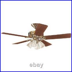 Hunter Studio 52 In. Bright Brass Ceiling Fan with Light Kit 53066 1 Each