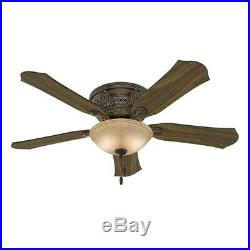 Hunter Viente 52 in. Indoor Roman Bronze Flushmount Ceiling Fan with Light Kit