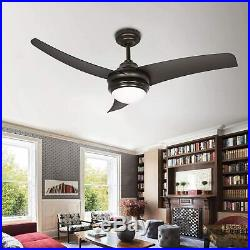 Hykolity 42 Inch Indoor Matte Black Ceiling Fan with Dimmable Light Kit and Remo