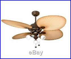 IP54 Outdoor Ceiling Fan Palm Chocolate Brown with Florence Light Kit 132cm 52