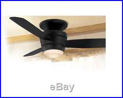 Indoor 44 In Matte Black Flush Mount Ceiling Fan With Light Kit And