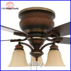 Indoor Berre Walnut Ceiling Fan with Light Kit 52 in. Stain Glass Lamp Shade