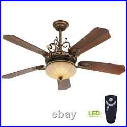 Indoor Ceiling Fan LED Light Kit 52 in. 5-Blades Remote Control Walnut