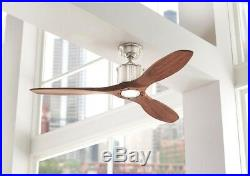 Indoor Ceiling Fan Light Kit LED Remote Control Wood Brushed Nickel 52 Inches