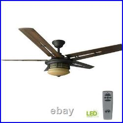 Indoor Ceiling Fan Oil Rubbed Bronze 5 Blades 52 in LED Light Kit Remote Control