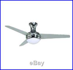 Indoor Ceiling Fan with Light Kit Glass Shade Fixture Remote Control 3 Blades