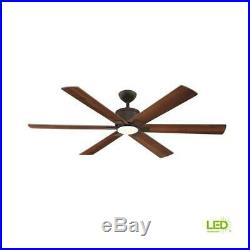 Indoor Oil Rubbed Bronze Ceiling Fan 60 Inch LED Light Kit And Remote Control
