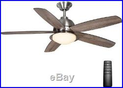 Indoor Outdoor 52 in. Ceiling Fan Brushed Nickel LED Light Kit Remote Control