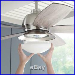 Indoor Outdoor Brushed Nickel Ceiling Fan 52 In LED Light Kit And Remote Control