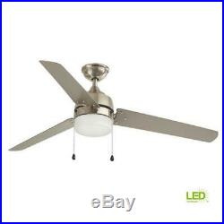 Indoor Outdoor Brushed Nickel Ceiling Fan Carrington 60 Inch Led Light Kit