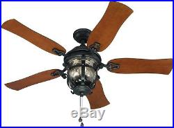 Indoor/Outdoor Ceiling Fan with Light Kit Black Iron Home Decor Free Shipping