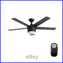Indoor Outdoor Ceiling Fan with Light LED Remote Control Kit Black Air Cool 52
