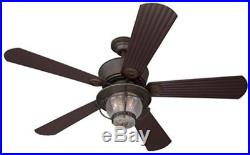 Indoor/Outdoor Downrod Mount Ceiling Fan with Light Kit and Remote