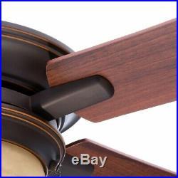 Indoor Rustic Bronze Ceiling Fan Light Kit 52 in. 5-Reversible Blade Flush Mount