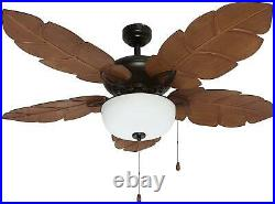 Indoor Tropical Ceiling Fan with Light Kit Five ABS Palm Leaf Blades ETL 52 NEW