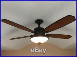 Industrial Bronze 52 Ceiling Fan + Remote Saucer Bowl Dome Light Kit Craftsman