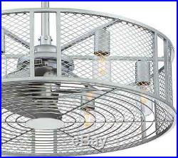 Industrial Indoor Ceiling Fan 6 Bulb Downrod Light Kit Novelty Drum Cage Fixture