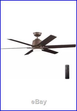 Kensgrove 54in. LED Indoor Espresso Bronze Ceiling Fan Light Kit Remote Control