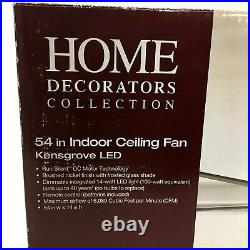 Kensgrove LED Indoor Ceiling Fan 54 Brushed Nickel, Dimmable Light Kit, Remote