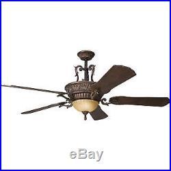 Kichler 300008BKZ 60 Indoor Ceiling Fan with Blades, Light Kit, Downrod and Rem