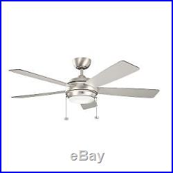 Kichler 300173NI 52 Indoor Ceiling Fan with Blades, Light Kit, Downrod and Pull