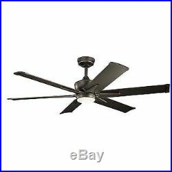 Kichler 300300OZ 60 Outdoor Ceiling Fan with Blades, Light Kit, Downrod and Wal