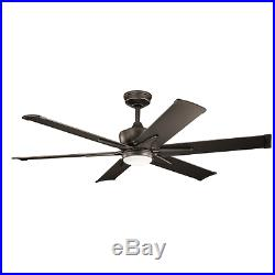 Kichler 300300OZ 60 Outdoor Ceiling Fan withLight Kit, Downrod & Wall Control