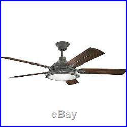 Kichler 310117WZC 60 Outdoor Ceiling Fan with Blades, Light Kit and Wall Contro