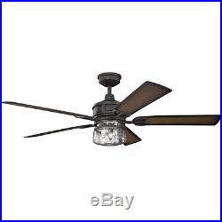 Kichler 310140DBK 60 Outdoor Ceiling Fan withLight Kit, Downrod & Wall Control