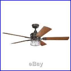 Kichler 310140OZ 60 Outdoor Ceiling Fan withLight Kit, Downrod & Wall Control