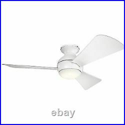 Kichler 330151MWH 44 Indoor / Outdoor Ceiling Fan with Blades, Light Kit and Wa