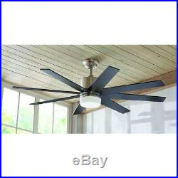 Kingsbrook 60 in. LED Indoor Brushed Nickel Ceiling Fan with Light Kit 9 Speed