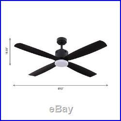 Kitteridge 52 in. LED Indoor Matte Black Ceiling Fan with Light Kit