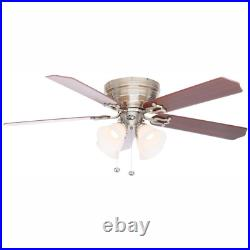 LED Ceiling Fan 52 In. Brushed Nickel Indoor With Light Kit Traditional Style