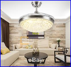 LED Crystal Ceiling Fan Light Kit Retractable Blades Timing Remote 42 Silver