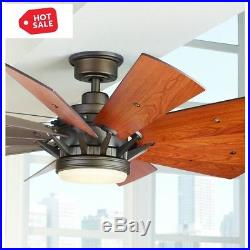 LED Indoor Ceiling Fan 60 in. Espresso Bronze + Light Kit/Remote Ceiling Fixture