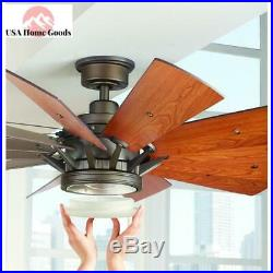 LED Indoor Espresso Bronze Ceiling Fan 60 in. Light Kit With Remote Cabin