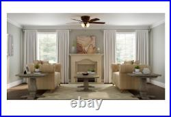 LED Indoor Iron Ceiling Fan 52 in. With Light Kit Reversible Blades Flush Mount 5.0