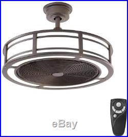 LED Indoor Outdoor Espresso Bronze Ceiling Fan Light Kit Remote Control