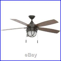 LED Indoor Outdoor Natural Iron Ceiling Fan Light Kit 52 in Mission Cage Style