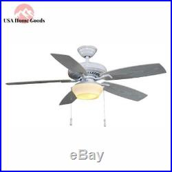 LED Indoor/Outdoor White Ceiling Fan with Light Kit 52 in. Gazebo Patio Porch