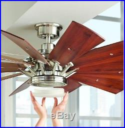 Large 60 in. LED Indoor Brushed Nickel Ceiling Fan with Light Kit Remote Control