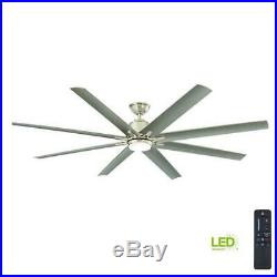 Large Ceiling Fan 72 in. LED Outdoor Brushed Nickel Light Kit Remote Control
