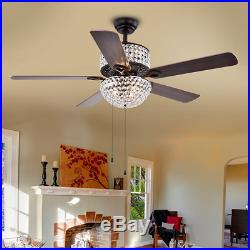 Laure Crystal Chandelier 52 Ceiling Fan with Elegant Light Fixture Kit Drum Lamp