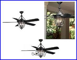 Litex Antique Bronze Downrod Mount Ceiling Fan with Light Kit and Remote 52-in