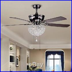 Luxury Chandelier Vintage Crystal Ceiling Fan Light Lamp Kit Home Decor 52