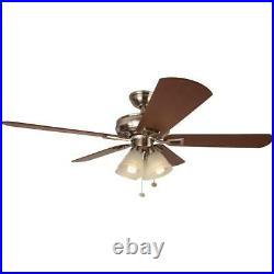 Lyndhurst 52 in. LED Brushed Nickel Ceiling Fan with Light Kit by Hampton Bay