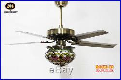 Makenier Tiffany Style Stained Glass Lotus Single-light Ceiling Fan Light Kit