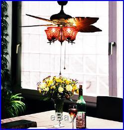 Makenier Vintage Handcrafted Red Glass 5-light Uplight Ceiling Fan Light Kit